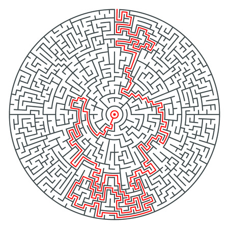 complexity: Abstract vector round maze of high complexity template layout