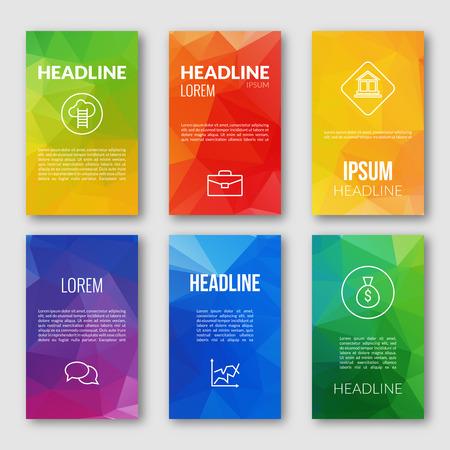 Set Design Web Template, commerciali bandiere triangolari, opuscoli. Mobile Technology. Infografica Concept. Web app modello di progettazione. interfaccia mobile. modello di interfaccia utente. Web design dell'interfaccia utente app