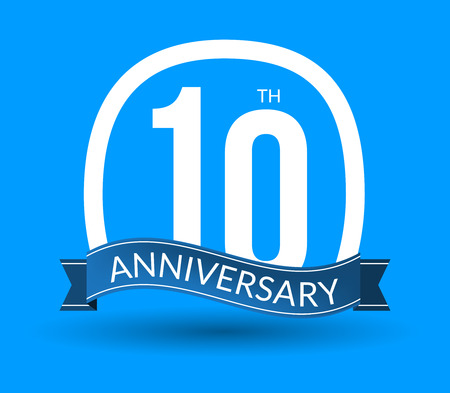 10th: 10 Anniversary numbers with ribbon. Flat origami style with long shadow. 10th anniversary Vector illustration.