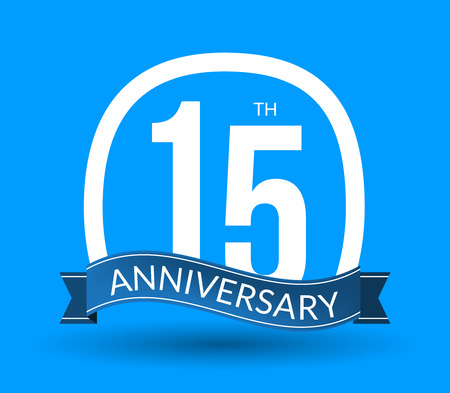 15th: 15 Anniversary numbers with ribbon. Flat origami style with long shadow. 15th anniversary Vector illustration.