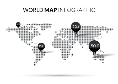 illustrated globes: World Map Dot illustration infographics with points pins and percentage. Halftone Dotwork Vector illustration.