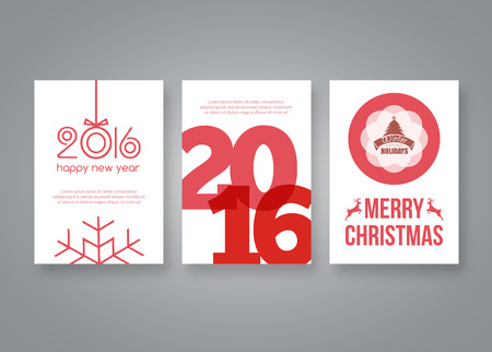 new books: Happy new year 2016 and Merry Christmas vector modern brochure design template with numbers. Set of red Postcard, invitation. Vector illustration. Illustration