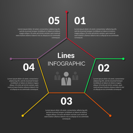 Colorful linear infographic. Lined concept design template