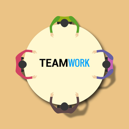 team concept: Group of business people working on office table. Team work concept.