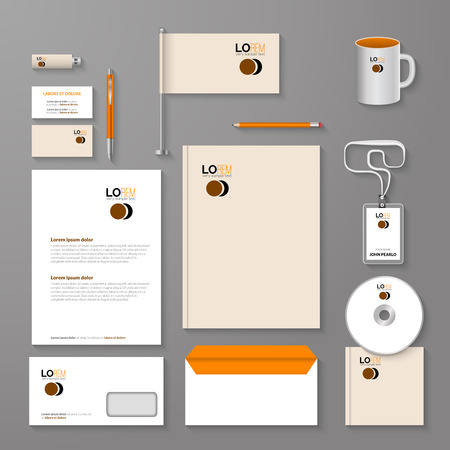 guideline: Abstract empty corporate identity template. Vector company style for brandbook and guideline.