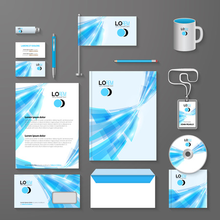 guideline: Abstract blue lines corporate identity template. Vector company style for brandbook and guideline.
