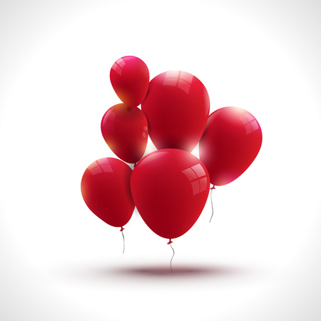 limpid: Composition of red ballons, greeting and holiday concept. Illustration