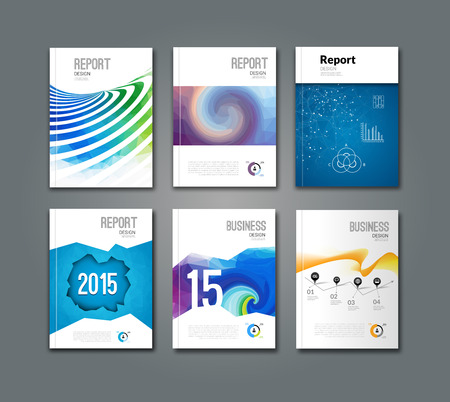 Set of modern geometric triangular and other design style brochure flyer covers template mockup, annual report newsletter for business visual identity.