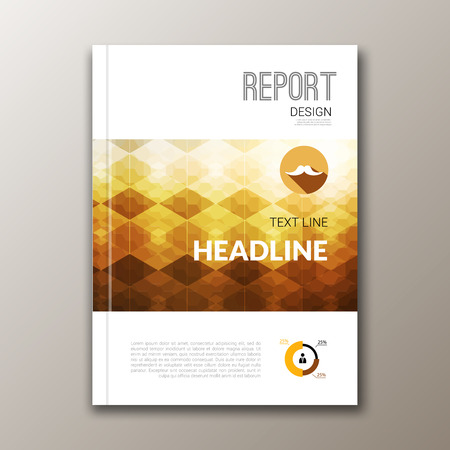 business report: Business design template. Cover brochure book flyer magazine layout mockup geometric, vector illustration.