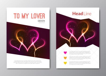 Día de San Valentín con antecedentes de vectores corazones abstractos. Volantes.