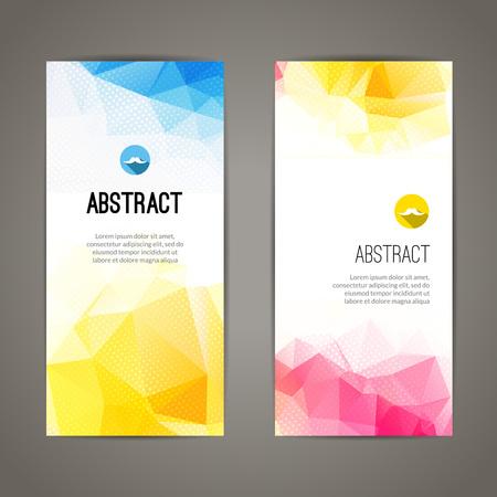 Zestaw wielokątnych trójkątnych kolorowych geometrycznych banerów dla innowacyjnego młodzieży nowoczesnym wzornictwem.