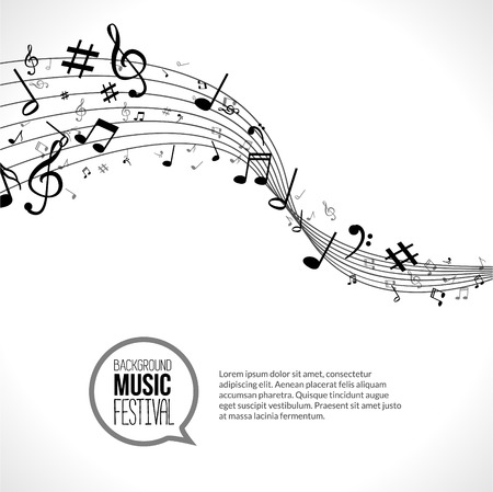 clave de fa: Vector Resumen de notas de música y líneas. Sobre fondo blanco aislado. Concepto musical. Vectores