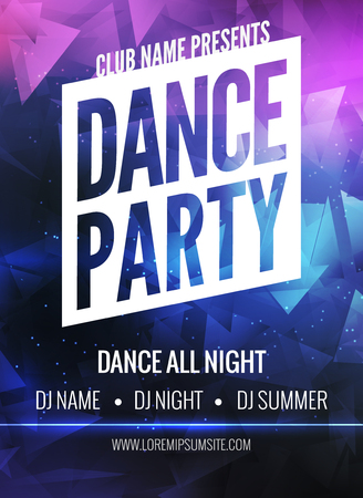 circle of friends: Dance Party Poster Template. Night Dance Party flyer.  Club party design template on dark colorful background. Club free entry.