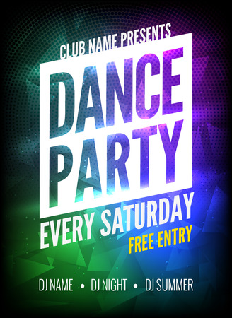 Dance Party Poster Template. Night Dance Party flyer. Club party design template on dark colorful background. Club free entry. Vektorové ilustrace