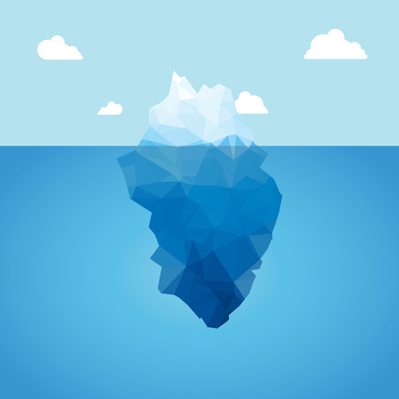 tip of iceberg: Vector 3d iceberg illustration concept. Success, clean blue cold sea or ocean concept Illustration