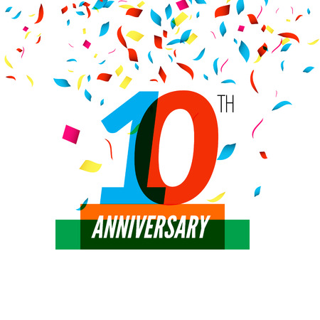 10th: Anniversary design. 10th icon anniversary. Colorful overlapping design with colorful confetti. Illustration