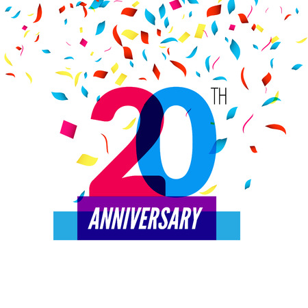 20th: Anniversary design. 20th icon anniversary. Colorful overlapping design with colorful confetti. Stock Photo
