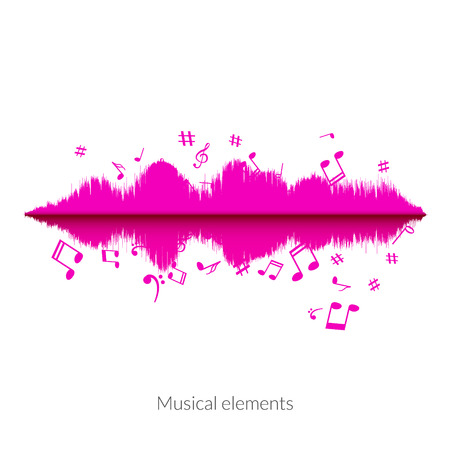 audio wave: Musical sound wave equalizer stylish concept. Audio wave with notes.