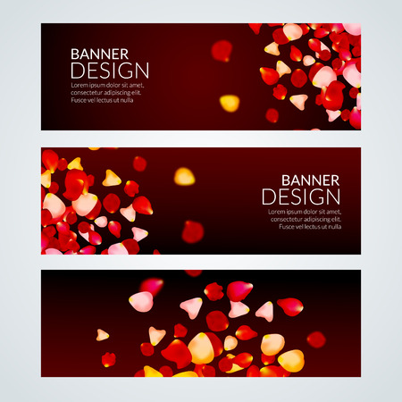 rose petals: Vector Rose Petals wedding love banners. Invitation romantic love template.