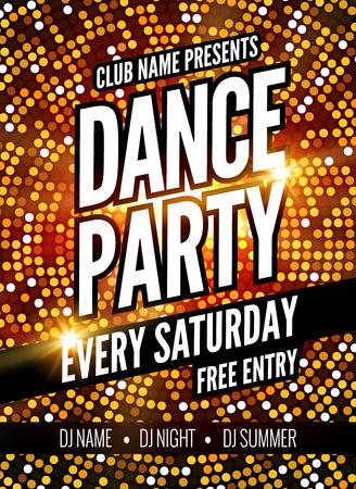 Danse Modèle Party Poster. dépliant Night Dance Party. modèle de conception du parti du club sur fond coloré sombre. Club entrée gratuite.