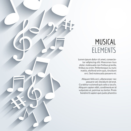 clef: Vector abstract Music notes and lines. On white isolated background. Musical concept.
