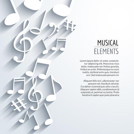 bass clef: Vector Resumen de notas de música y líneas. Sobre fondo blanco aislado. Concepto musical. Vectores