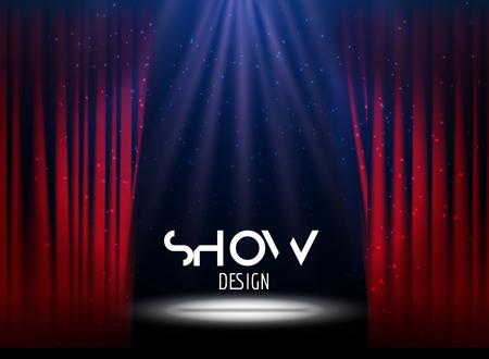 Diseño festivo del vector con las luces. Cartel para el concierto, fiesta, teatro, plantilla de la danza. Etapa con las cortinas. Cartel de plantilla con las luces