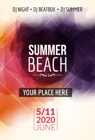 Summer beach party flyer template design. Summer party design layout event.