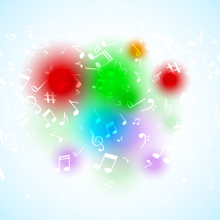 music symbols: Vector abstract Music notes. Colorful musical background.