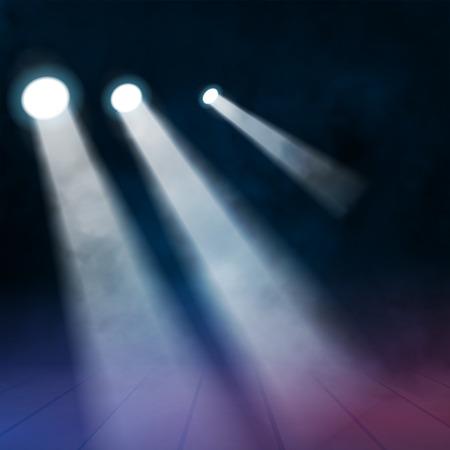 floodlights: 3 three Floodlights spotlights illuminates wooden scene. Vector illustration.