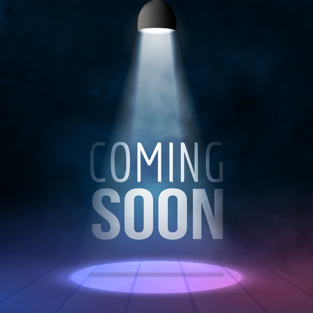 empty stage: Coming soon illuminated with light projector blank stage realistic vector illustration. Sale market commerce concept. Illustration