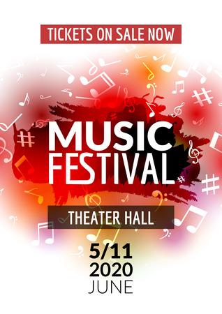 Variopinta di musica vettore modello festival di concerto volantino. manifesto musicale flyer design con le note.