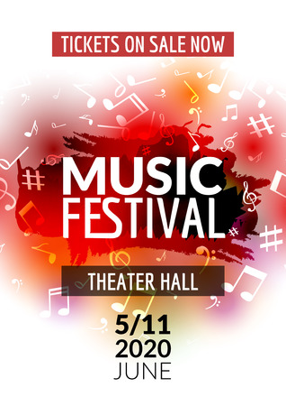 concert: Colorful vector music festival concert template flyer. Musical flyer design poster with notes. Illustration