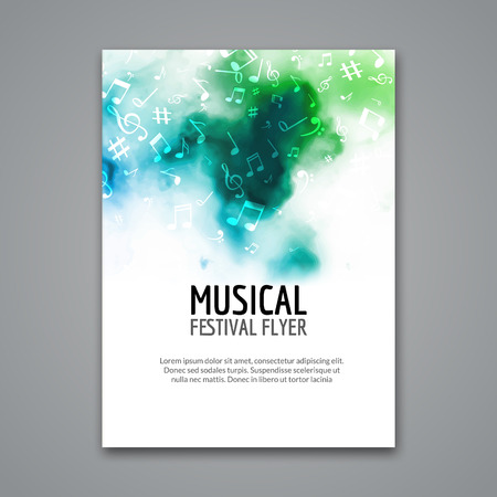 Colorful vector music festival concert template flyer. Musical flyer design poster with notes. Ilustrace