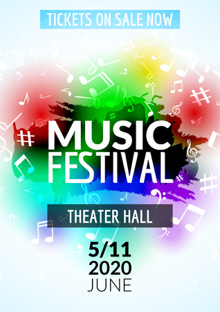 Colorful vector music festival concert template flyer. Musical flyer design poster with notes.  イラスト・ベクター素材