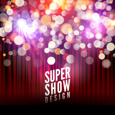 musical theater: Super show poster template with bokeh lights. Greeting, theater, concert, musical dance, presentation. Beautiful scene with curtains. Vector illustration.