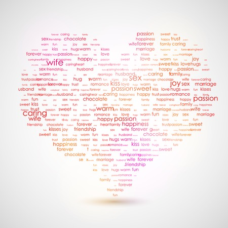describes: Heart shape from letters - typographic composition. The best list of words, that describes LOVE vector