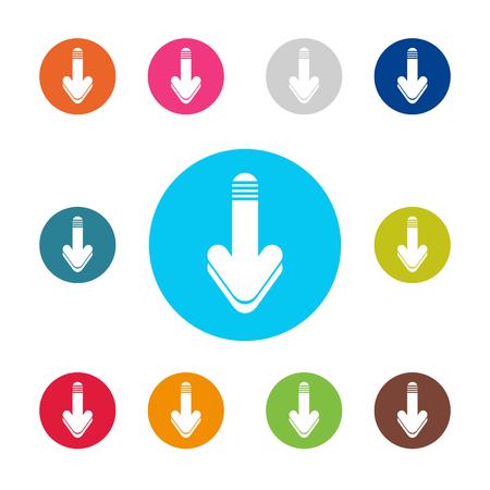 vector download: Download icon set. Arrow down vector download icons