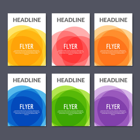 Set of colorful abstract banners flyers. Graphic design of brochures or book cover with overlay colors.
