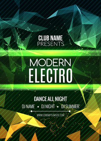 electro: Modern Electro Music Party Template, Dance Party Flyer, brochure. Night Party Club Banner Poster Illustration