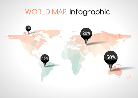 destinations: Abstract world map with tags, points and destinations