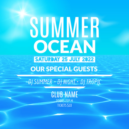 Ocean water party. Tropical summer vacation poster or flyer design template.