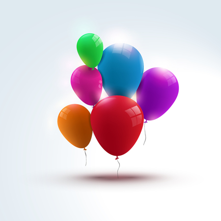 red yellow: Holidays balloons vector design template. Festive background