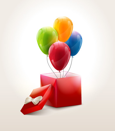 middle air: Set of colourful birthday or party balloons with red box.