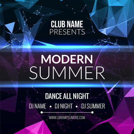 Modern Summer Club Music Party Template, Dance Party Flyer, brochure. Night Party Club sound Banner Poster Ilustração