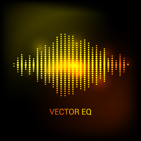 audio wave: Single colorful eq, equalizer. Vector sound audio wave, frequency, melody, soundtrack in night for dance electronic disco music. Sound wave eq. Audio wave