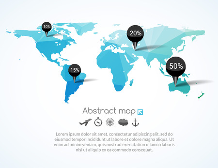 destinations: Vector blue triangle world map with tags, points and destinations with icons airplane, sun, cloud, anchor, compass, travel concept. Illustration
