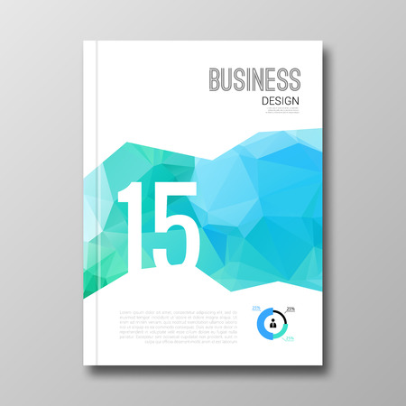 magazine page: Business design template. Cover brochure book flyer magazine layout mockup geometric triangle polygonal shapes info-graphic, vector illustration. Illustration