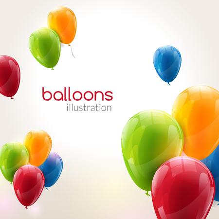 Vector volar globos de fiesta con globos brillantes brillantes para el día de fiesta.