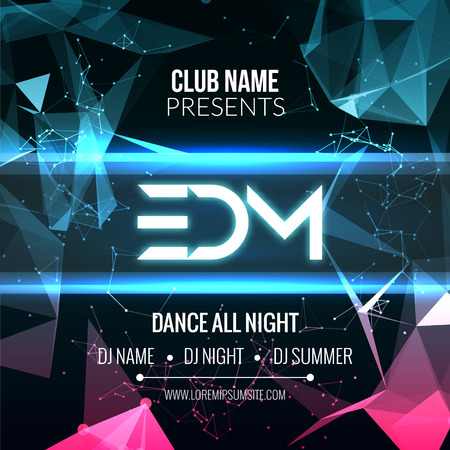 Modern EDM Music Party Template, Dance Party Flyer, brochure. Night Party Club Banner Poster  イラスト・ベクター素材